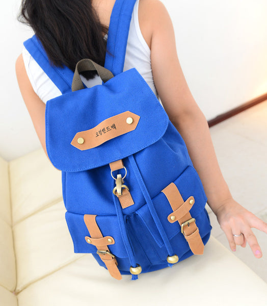 Belt Fastener Solid Color Canvas Backpack School Bag - Meet Yours Fashion - 5