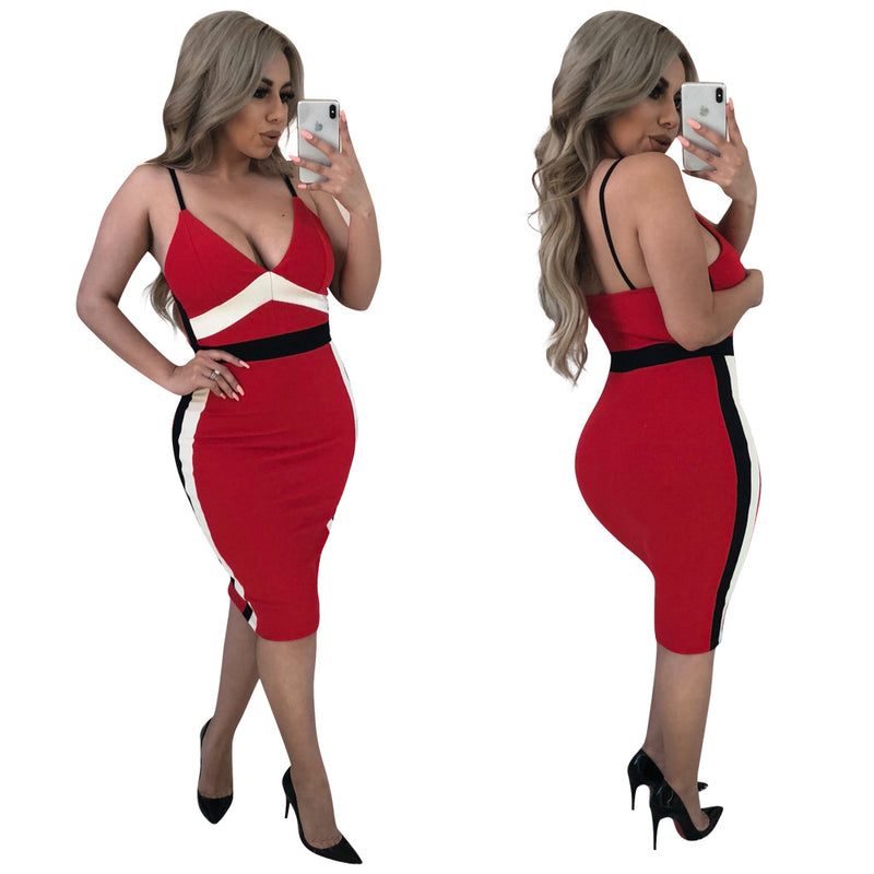 Sexy Condole Belt Backless Splicing Bodycon Dress