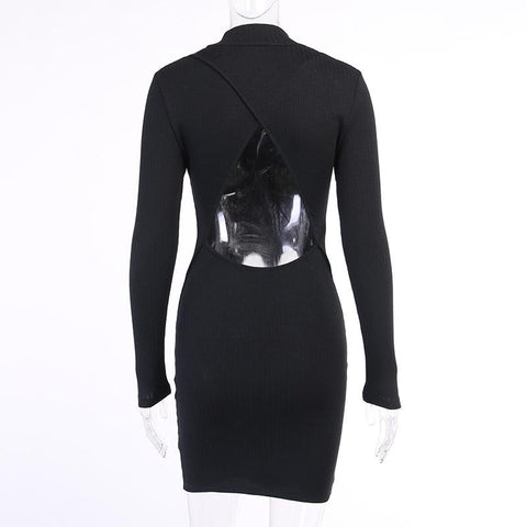 Sexy Long Sleeve Blackless Bodycon Party Dress