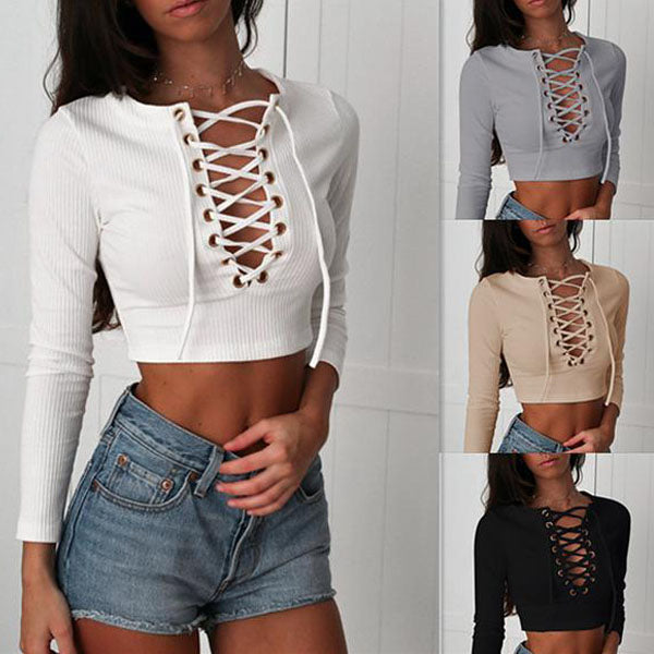 Sexy Hollow Out Straps Short Crop Tops T-shirts