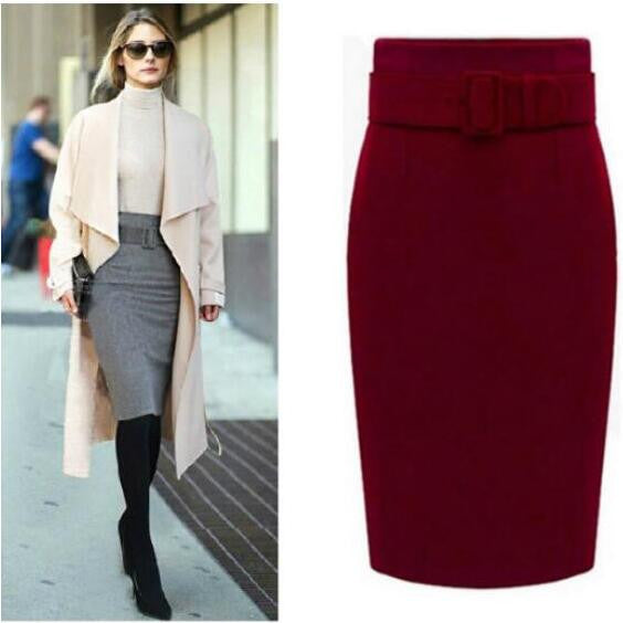 Fashion Belt Buckle Pure Color Cotton Pencil Skirt