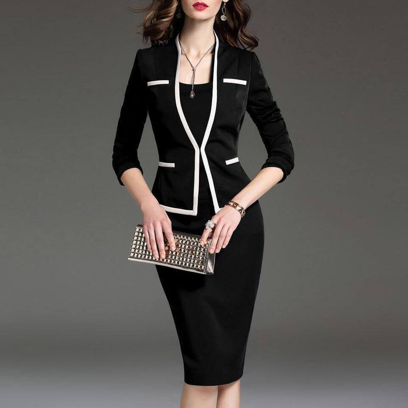 Plus Size Bodycon Long Sleeve Two Peice Dress