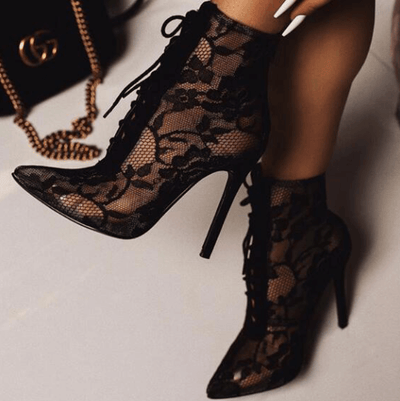 Black Lace Strap Point Toe High Heel Boots