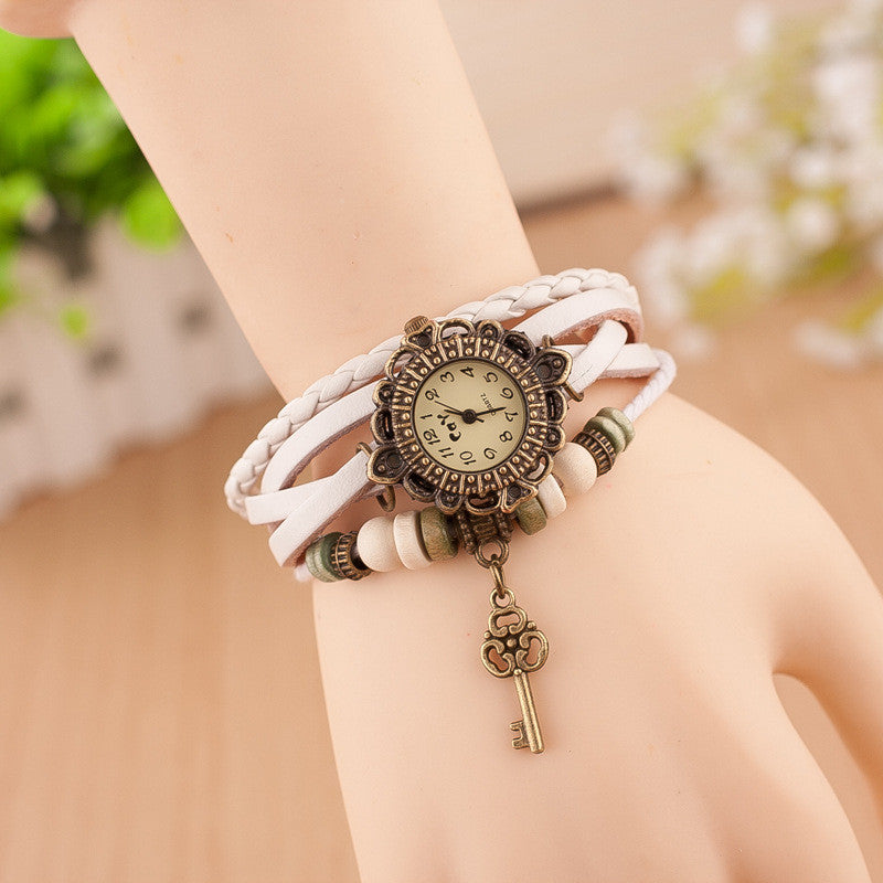 Retro Style Key Pendant Multilayer Watch
