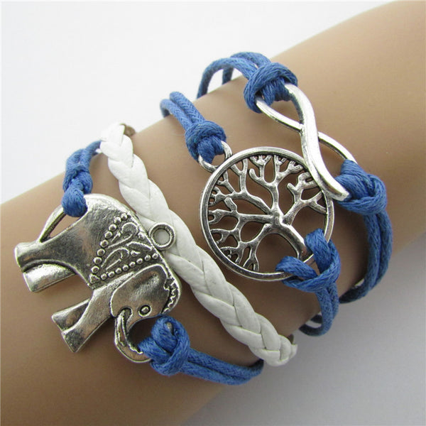 Elephants Tree Colorful Rope Bracelets