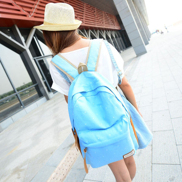 Polka Dot Candy Color Canvas Backpack School Bag - Meet Yours Fashion - 7