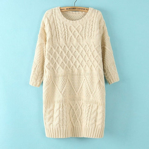 Diamond Cable Retro Knit Long Pullover Sweater - Meet Yours Fashion - 2