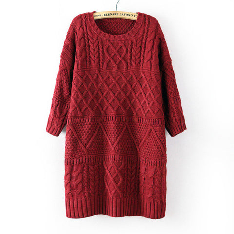 Diamond Cable Retro Knit Long Pullover Sweater - Meet Yours Fashion - 3