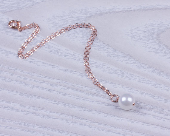 Simple Pearl Single Anklet