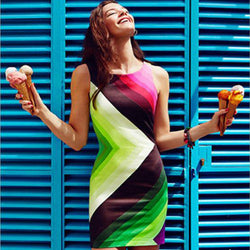 Colorful Print Sleeveless O-neck Short Dress