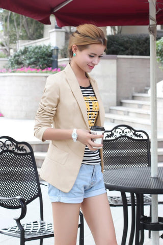 Slim Lapel Solid Pockets Short Coat - Meet Yours Fashion - 1