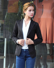 Slim Lapel Solid Pockets Short Coat - Meet Yours Fashion - 4