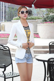 Slim Lapel Solid Pockets Short Coat - Meet Yours Fashion - 5