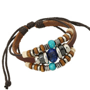 Blue Crystal Beaded Leather Woven Bracelet