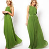Floor-length Pleated Sleeveless Scoop Prom Dress