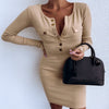 O Neck Button Slim Bodycon Long Sleeve Dress