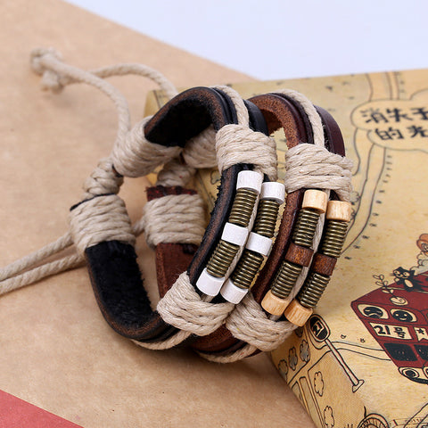 Bronze Spring Wooden Ball Leather Bracelet