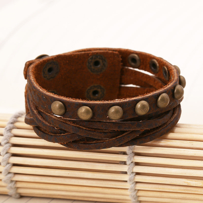 Retro Style Rivet Fashion Woven Bracelet