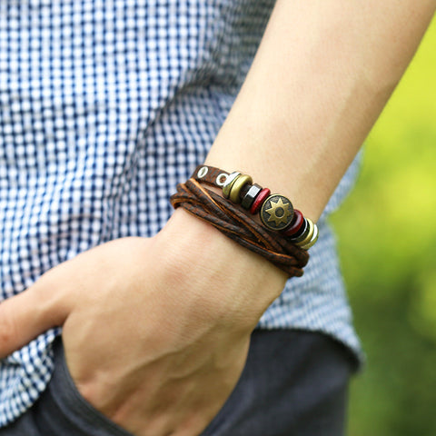 Korea Style Beads Multilayer Woven Bracelet