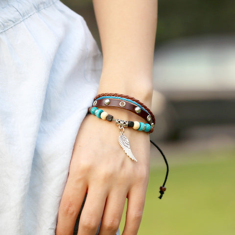 Retro Style Beaded Wing Leather Bracelet