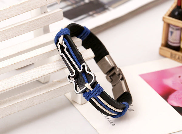 Alloy Guitar Leather Woven Bracelet