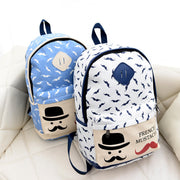 Mustache Print Fashion Backpack School Bag - Meet Yours Fashion - 7