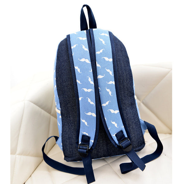Mustache Print Fashion Backpack School Bag - Meet Yours Fashion - 8