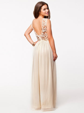 Lace Chiffon Backless Long Prom Dress - MeetYoursFashion - 4