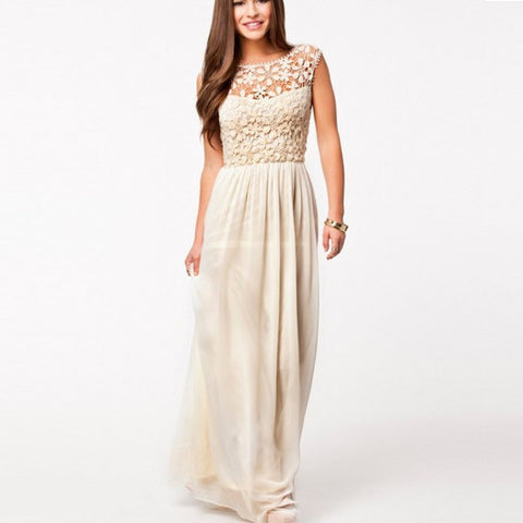 Lace Chiffon Backless Long Prom Dress - MeetYoursFashion - 1