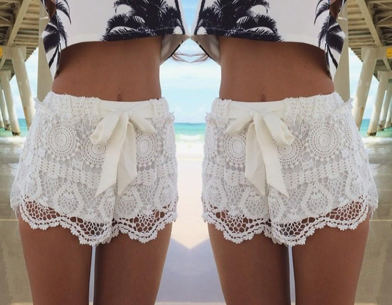 Bowknots Lace Irregular High Waist Beach Hot Shorts - Meet Yours Fashion - 4