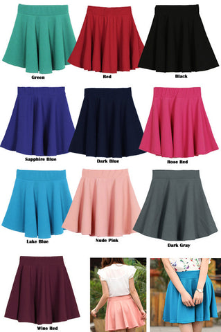 Candy Color Stretch Skater Flared Pleated Mini Skirt - MeetYoursFashion - 7