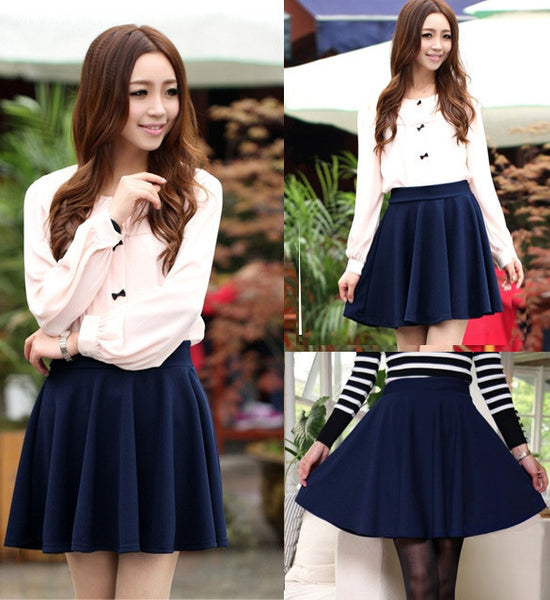 Candy Color Stretch Skater Flared Pleated Mini Skirt - MeetYoursFashion - 4