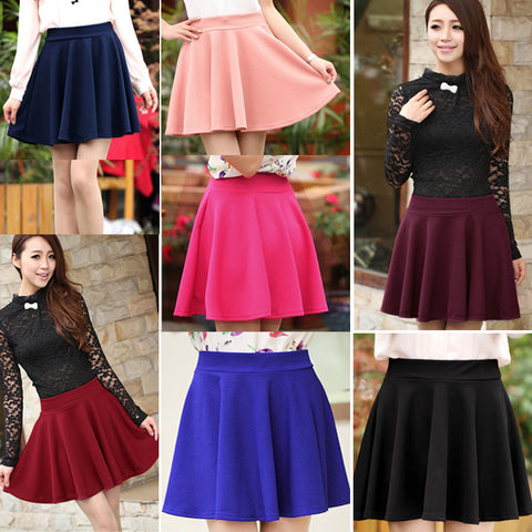 Candy Color Stretch Skater Flared Pleated Mini Skirt - MeetYoursFashion - 5