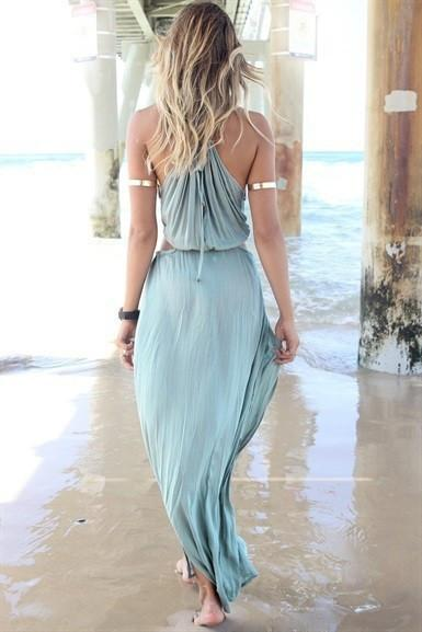 Chiffon Sleeveless Pure Color Irregular Spaghetti Strap Long Dress - Meet Yours Fashion - 5