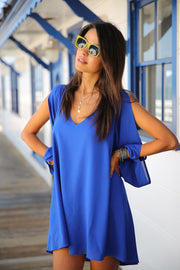 V-neck Bear Shoulder Loose Chiffon Short Dress - MeetYoursFashion - 3