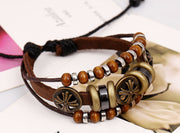 Retro Flower Beaded Leather Bracelet