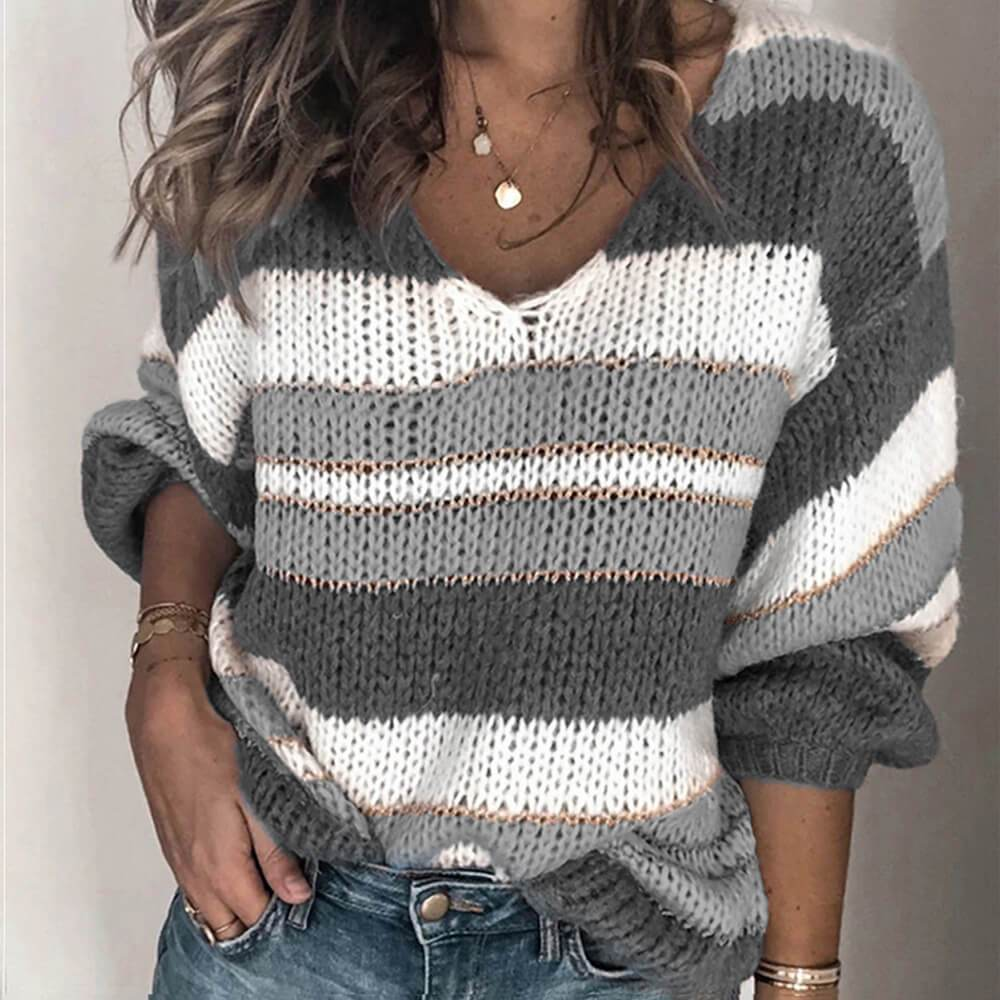 V Neck Coloeblock Striped Sweater