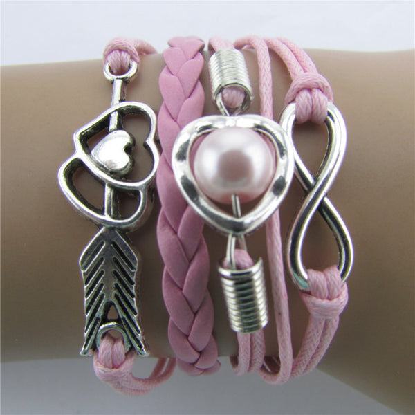 Arrow Through Heart Woven Multilayer Bracelet