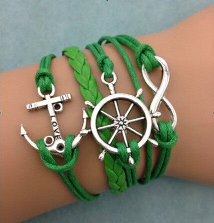 Anchor Rudder Green Rope Woven Bracelet