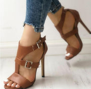 PU Open Toe Buckle High Heel Sandals