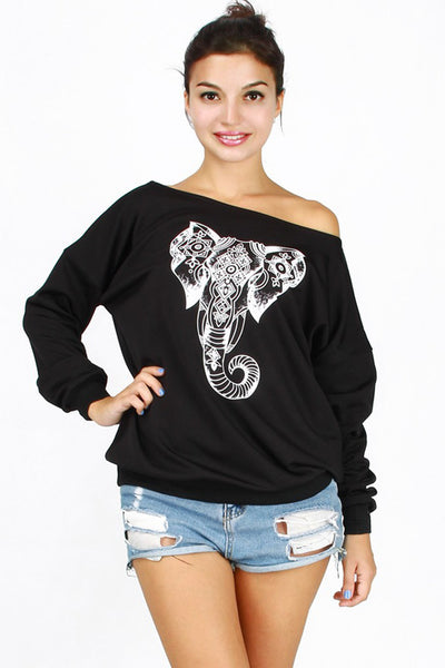 Elepant Print Round Collar Long Sleeves Loose Sweatshirt