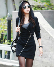Hooded Slide Zipper Solid Color V-neck Hoodie - Meet Yours Fashion - 1