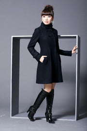 Hooded High Neck Button Slim Long Sleeves Mid-length Coat - Meet Yours Fashion - 5