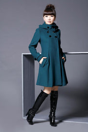 Hooded High Neck Button Slim Long Sleeves Mid-length Coat - Meet Yours Fashion - 6