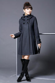 Hooded High Neck Button Slim Long Sleeves Mid-length Coat - Meet Yours Fashion - 1
