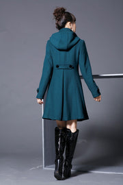 Hooded High Neck Button Slim Long Sleeves Mid-length Coat - Meet Yours Fashion - 8