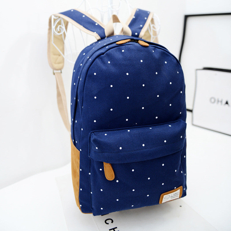 Polka Dot Candy Color Canvas Backpack School Bag - Meet Yours Fashion - 1