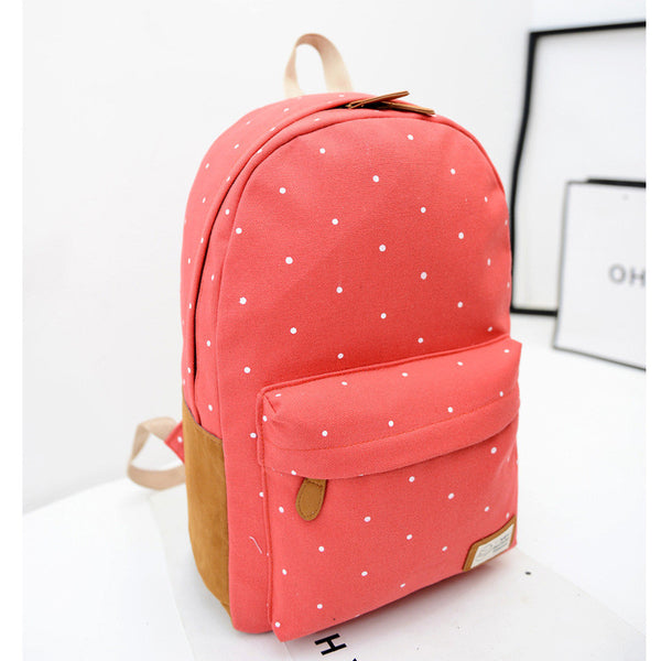 Polka Dot Candy Color Canvas Backpack School Bag - Meet Yours Fashion - 6