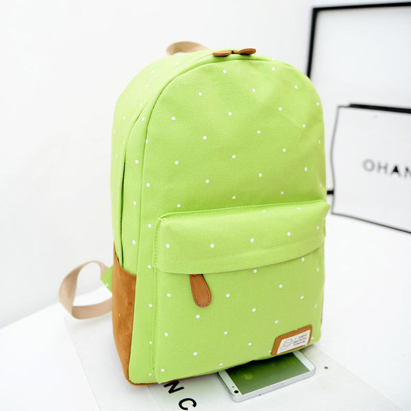 Polka Dot Candy Color Canvas Backpack School Bag - Meet Yours Fashion - 4