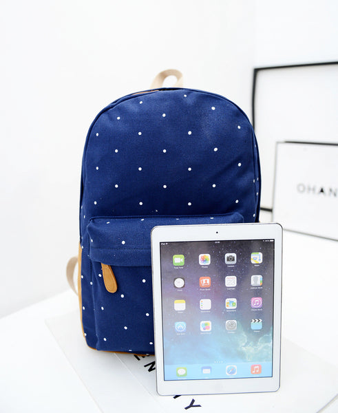 Polka Dot Candy Color Canvas Backpack School Bag - Meet Yours Fashion - 11
